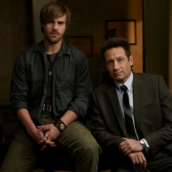 David Duchovny and Grey Damon on Aquarius. Photo credit: NBC