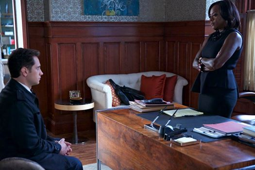 Asher (Matt McGorry) and Annalise (Viola Davis) talk in her office on How to Get Away with Murder