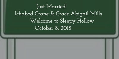 Just married road sign for Sleepy Hollow's Ichabod Crane and Abbie Mills