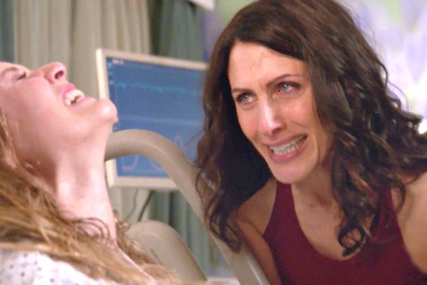 Abby is with Becca when she gives birth on Girlfriends' Guide to Divorce