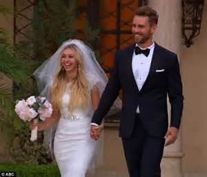 Nick and Corinne in wedding clothes on The Bachelor
