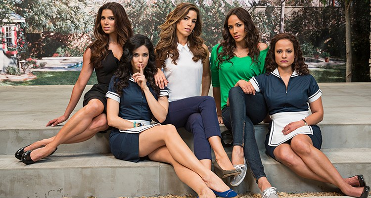 Pictured: Roselyn Sanchez, Edy Ganem, Ana Ortiz, Dania Ramirez and Judy Reyes | Photo by Jim Fiscus/A&E Networks. Copyright 2013
