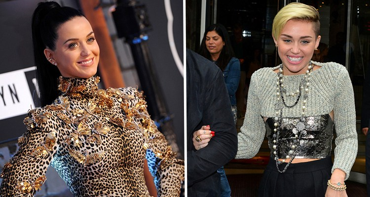 Photo Credits: (L) Katy  Perry courtesy Axelle/Bauer-Griffin;(R) Miley Cyrus courtesy Rick Diamond/Getty Images North America
