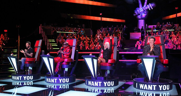 """THE VOICE -- """"Blind Auditions"""" -- Pictured: (l-r) Adam Levine, Ceelo Green, Christina Aguilera, Blake Shelton -- (Photo by: Trae Patton/NBC)"""