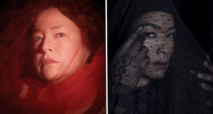 Pictured: Kathy Bates as Madame LaLaurie; Angela Bassett as Marie Laveau | Credit: Frank Ockenfels/FX