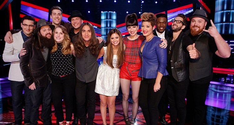 "THE VOICE -- ""Live Show"" Episode 513C -- Pictured: (l-r) James Wolpert, Cole Vosbury, Ray Boudreaux, Caroline Pennell, Josh Logan, Jonny Gray, Jacquie Lee, Kat Robichaud, Tessanne Chin, Matthew Schuler, Will Champlin, Austin Jenckes -- (Photo by: Trae Patton/NBC)"
