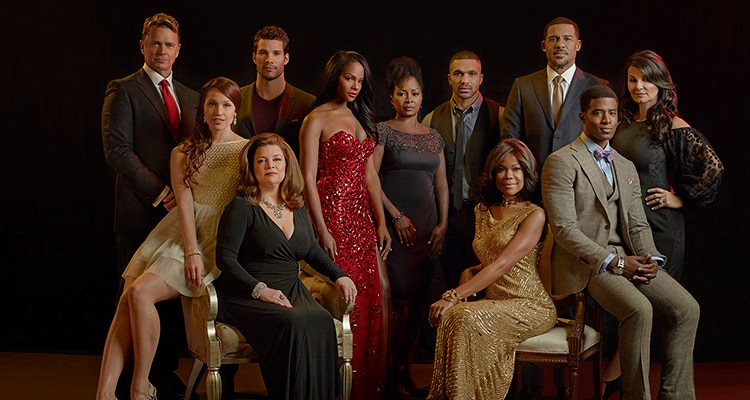"Cast photo of ""The Haves and the Have Nots"" (New Season) Left to right: John Schneider, Jaclyn Betham (in yellow), Renee Lawless (in black), Aaron O'Connell, Tika Sumpter, Crystal Fox, Tyler Lepley, Angela Robinson (in gold), Peter Parros (in charcoal grey); Gavin Houston (with bow tie) and Eva Tamargo; Photo Credit: Jeremy Cowart/OWN"