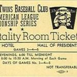 1969 Twins hospitality room ticket