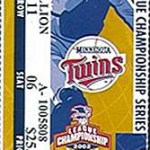2002 Twins ALCS ticket. Click on the ticket to see the full image.