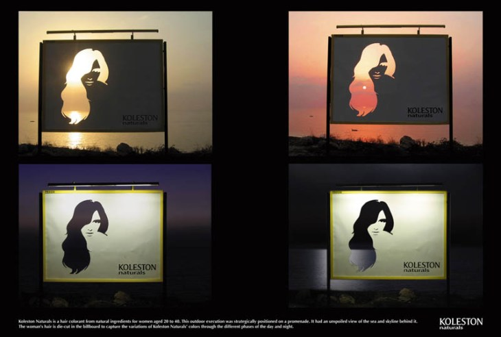 cutout of hair on billboard to show different dyes as daylight changes throughout day