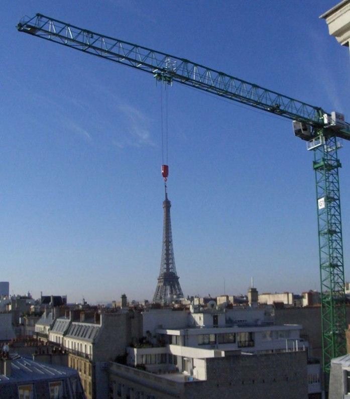 eiffel tower crane perfect timing