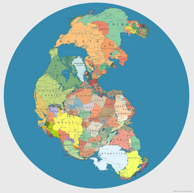 40 maps that will help you make sense of the world your history haven map of pangea with current international borders gumiabroncs Choice Image