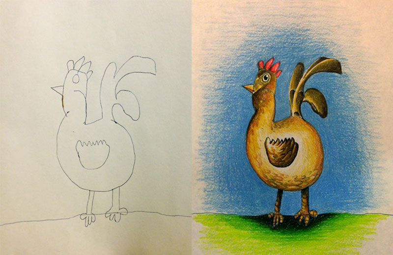 dad colors in his kids drawings 7 This Dad Has Drawn on His Sons Lunch Bag Every Day for 2 Straight Years