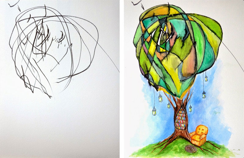 ruth-oosterman-Turns-Daughters-Sketches-Into-Watercolor-Paintings-3