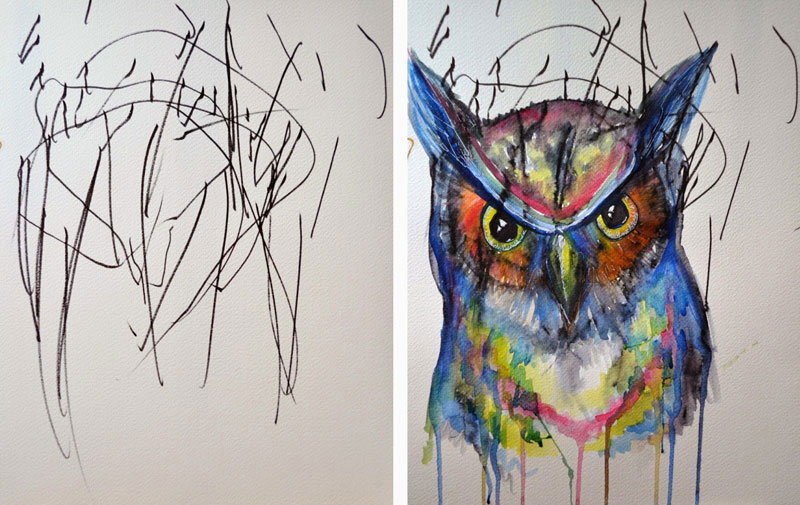 ruth-oosterman-Turns-Daughters-Sketches-Into-Watercolor-Paintings