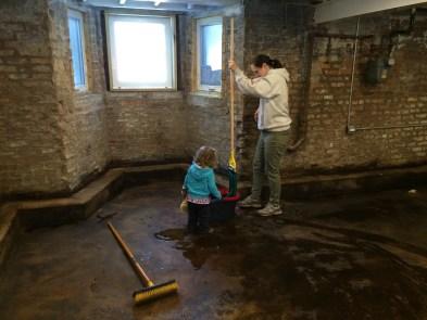 Washing the floor