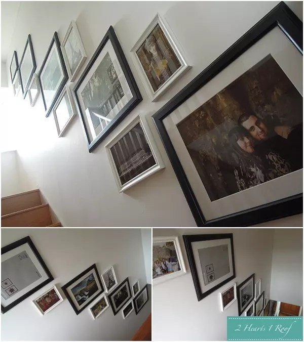 Picture wall on a staircase