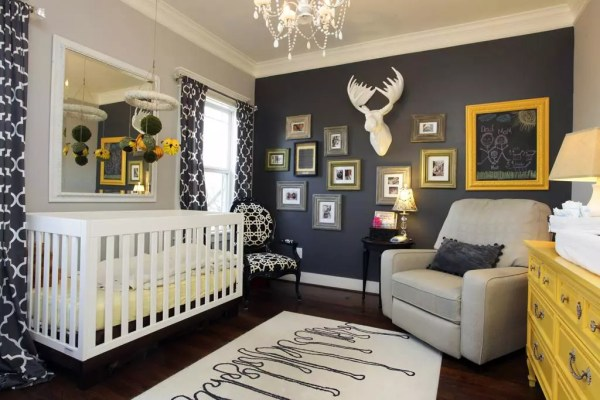7 Inspiring Kid Room Color Options For Your Little Ones: Navy, Grey And Orange Nursery Inspiration And Ideas