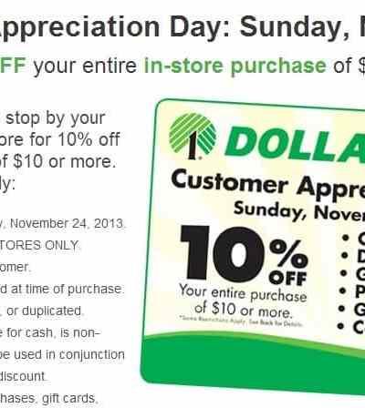Customer Appreciation Day at Dollar Tree save 10