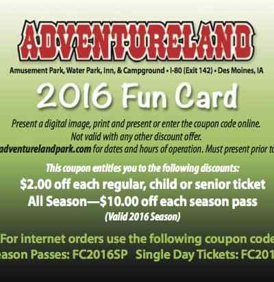 Adventureland Coupons Des Moines Iowa 2016