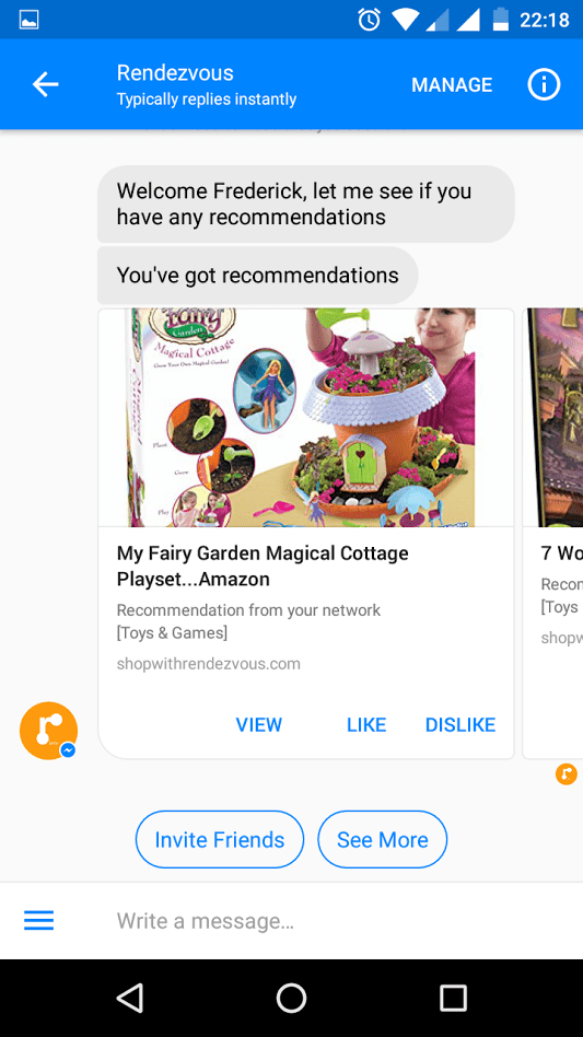 Shopping with friends has always been more fun & you can now get recommendations from your friends and family via the Rendezvous Facebook Messenger AI bot.