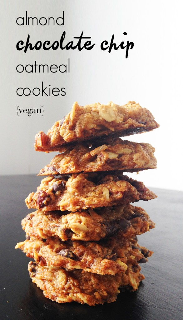 Almond Chocolate Chip Oatmeal Cookies | Two Shakes of Happy