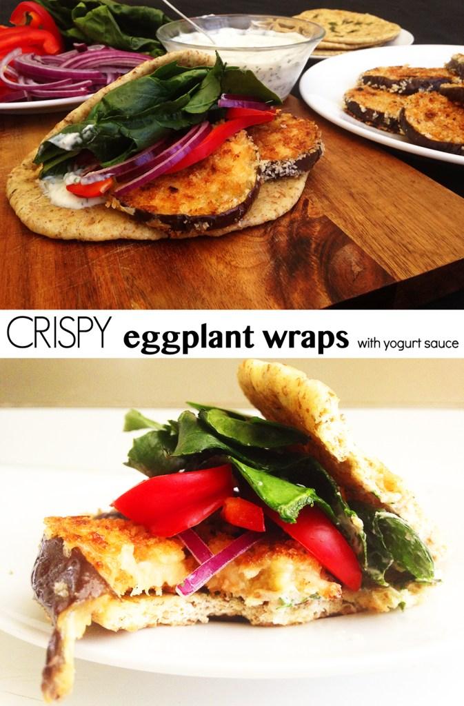 Crispy Eggplant Wraps with Yogurt Sauce | Two Shakes of Happy