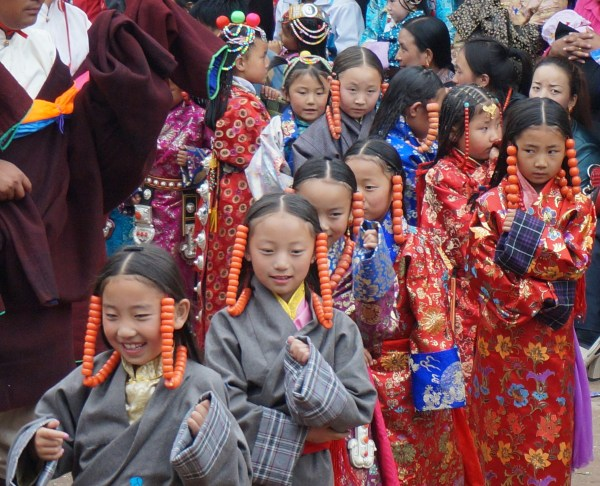 Dancers at the Leru Festival in Rongwo Monastery, Rebgong, Qinghai