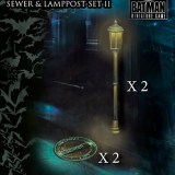 Batman Miniature Game Lampost and Sewer Pack II. Copyright DC and Knight Models.