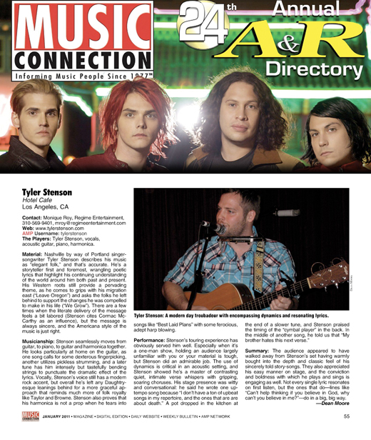 Tyler Stenson in Music Connection Magazine - 01/01/2011