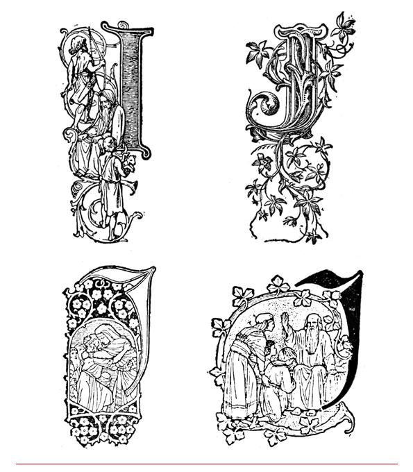 drop caps - inițiale - letrine; literele I și J