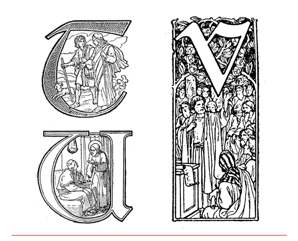 drop caps - inițiale - letrine; literele T, U și V