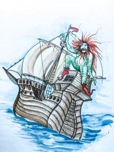 Der Klabautermann auf einem Wolgaster Schiff