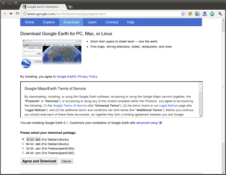 ubuntuportal-how to dwonload and install Google earth  ubuntu 11.10