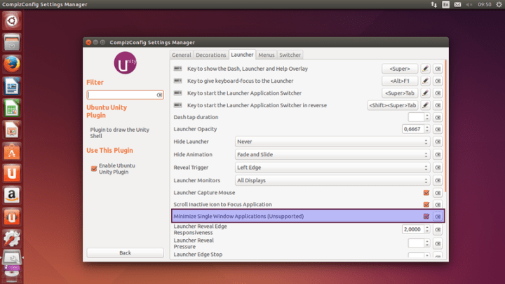 enable minimize for unity launcher via ccsm ubuntu 14