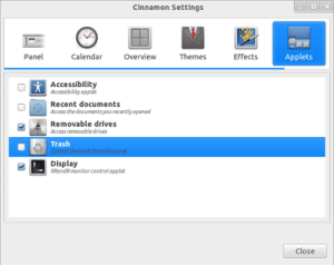 Cinnamon Settings - Applets - Cinnamon 1.2