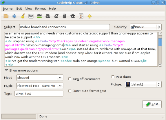 Drivel - App Blogging Client Recommended for Ubuntu User