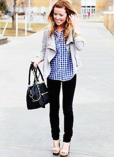 3ギンガムチェックシャツ×黒デニム×グレーレザージャケット