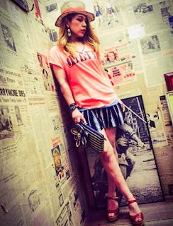 6夏キュロット×プリントTシャツ×ストローハット