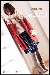 10グレーのロングブーツ×赤ハーフコート×チェック柄スカート