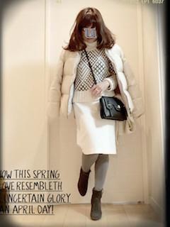 8冬のダウンジャケット×柄物セーター×タイトスカート