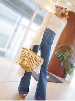 12ロングカーディガン×ワイドデニムパンツ×リゾートファッションコーデ