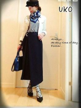 スカーフ×白Gジャン×ヘムスカート