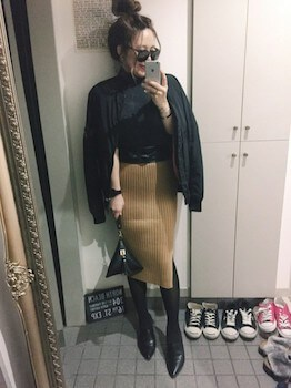 サッシュベルト×MA1×リブタイトスカート