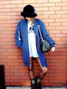ロングMA1×ブランドビックTシャツ×ハット