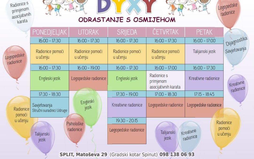 Novi raspored radionica Udruge Dyxy za školsku godinu 2018./19.