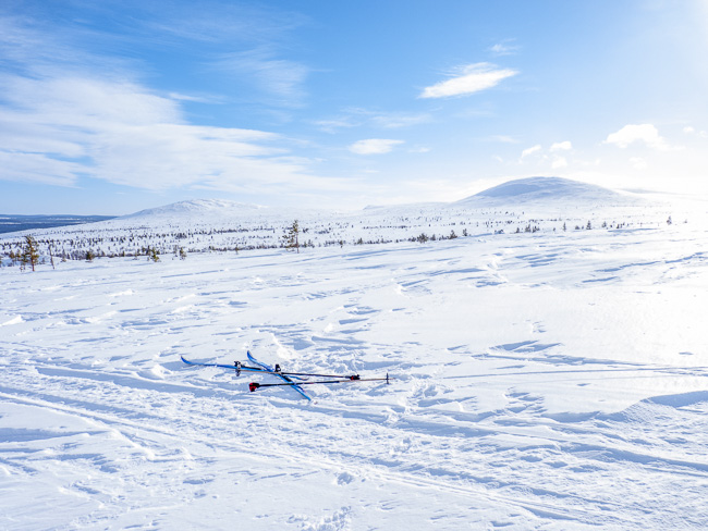 Die Abzweigung zur Tappuri Hütte ist zwar ungespurt (oft nur Schneemobilspuren, die jedoch nicht helfen), lohnt sich dennoch aufgrund der Aussicht!