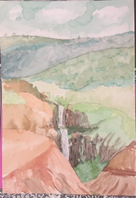 Waimea canyon waterfall Watercolor on paper