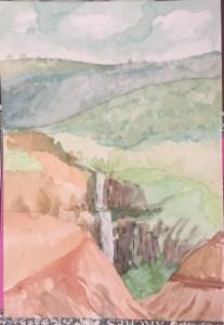 Waimea canyon waterfall Watercolor on paper