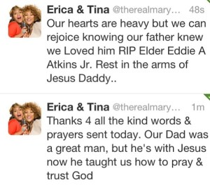 Twitter Message from Erica & Tina
